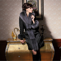 FREE SHIPPING! Luxury honourable rara slim long design fashion large fur collar down coat 3009
