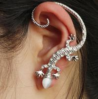 Fashion lizard earring gecko ear cuffs charms rhinstone plated white k earrings for women LM-C224