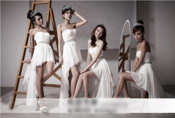 Brides Maid Dresses 2014 Built-in Bra Flower Girl Dress Wedding Chiffon Party Dress Custom Made