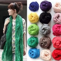 Womens Fashion Scarves Autumn and winter solid color summer cape ultralarge pleated fluid all-match ultra long scarf 160*60