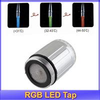 Free shipping 2pcs/lot NEW Temperature Sensor 3 Color RGB Glow Shower LED Light Water Faucet Tap