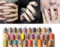 16pcs/set metal colour cosmetic nail patch stickers strips art nail polish stickers nail wraps 368colors choose