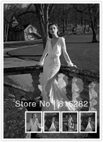 2014 Sheath V Neckline Backless Floor Length Bridal Gown With Court Cap Long Sleeves Appliques  Satin Sequins  Wedding Dresses