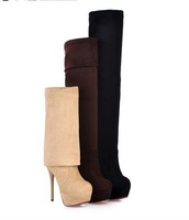 Big Size 34- 43  Platform Pumps Boots for Women,Winter Warm High Stiletto Heel Boots,High Quality Boots