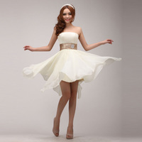 new arrival 2015 The bride waist tube top short formal dress irregular  prom dress short design strap evening dress