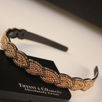 Hair accessory rhinestone leaves belt slip-resistant hair bands czech diamond hair pin
