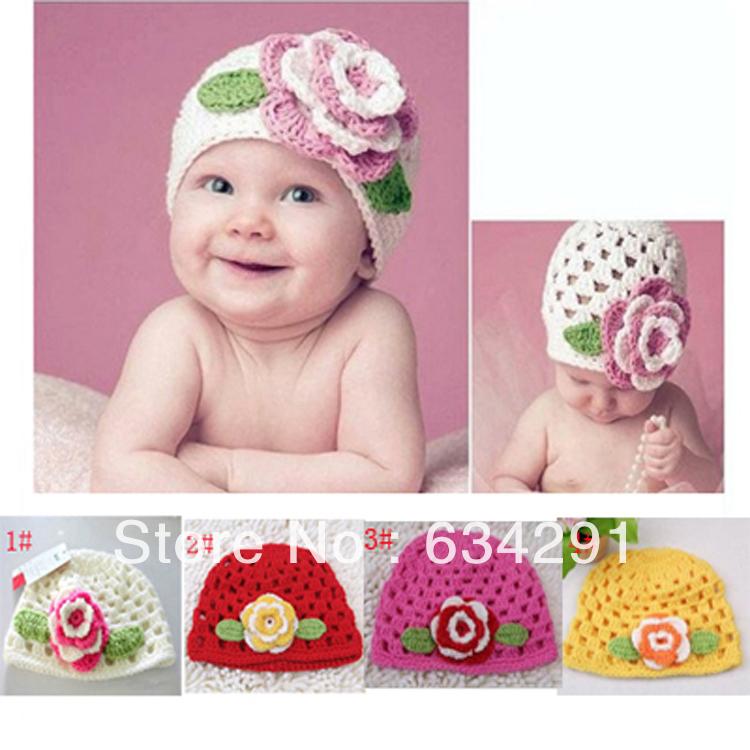 fashion spring&autumn baby crochet flower hats kids knitted beanies infant handknitted bebe hats children flower caps 1 pcs(China (Mainland))
