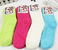 20pairs/lot winter coral fleece women socks soft thick towel socks for girls hosiery free shipping