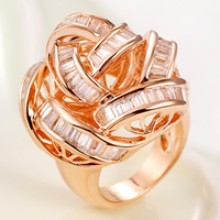 For decoration fashion flower cutout zirconium Champagne ring female ka155