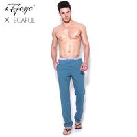 Igogo 2013ecaful fluid fabric color block decoration thread lacing sports casual pants