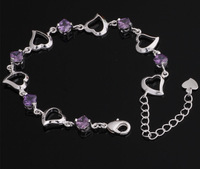 purple necklace heart, crystal sterling silver bangle, fashion crystal bracelet YAB088