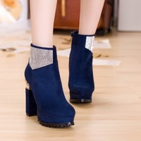 2013 autumn and winter thick heel boots female high-heeled shoes sexy rhinestone round toe female fashion platform shoes