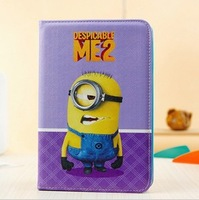 Wholesale 2013 new arrival hot selling holster leather DESPICABLE ME 2 wallet  case for ipad mini free shipping