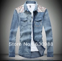 Free shipping in the autumn of 2013 han edition cultivate one's morality cowboy long-sleeved shirts big yards