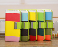 Color Chic Print PU Leather Case Multicolor Back Cover Wallet Case For Apple iPhone 5/5G Polychrome Free Shipping