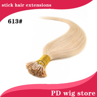 "50g 100pcs/pack straight Remy I-tip human hair extension 18""20""22"" 613#bleach blonde color"