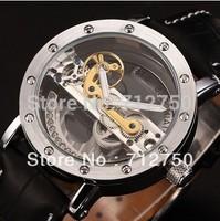 GAGA! SHENHUA Steampunk Transparent Skeleton Flywheel Genuine Leather Strap Men's Mechanical Watch Relogio Masculino Automatic