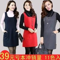 Sz women's winter dress plus size mm wool vest dress woolen one-piece dress tank dress