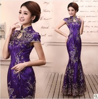 Spring and summer fashion of improved cheongsam the bride married cheongsam long design fish tail cheongsam lace 2014