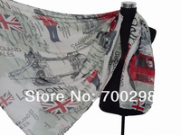 100pcs/lot Fashion Souvenir London Scene Theme Union Jack UK Print Scarf Shawl Wrap , Free Shipping
