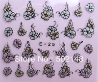 hot sale styles Glitter nail sticker with flower design