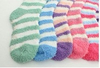 FreeShip 2014 Children SockChildren Winter Candy Color Stripe Socks Warm Pile Socks Cold-proof 12pairs/Lot AB1013