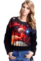 Hot Selling Freeshipping 2014 Women Space Print Pullovers Galaxy Sweatshirts  3d Sweaters Hoodies Top S/M/LXL Girl Hoody
