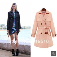 Dust Coat Female Coat New Product 2013 Autumn Winters Is Recreational Woman Long-Sleeved Double-Breasted Coat Female's Trench