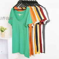 Free Shipping  2013 Women Female 100% Cotton Basic O-neck  Short-sleeve T-shirts/Lady Tees