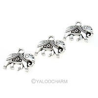 30pcs Antique Silver Alloy Pendant Necklace Retro Elephant Types Charms 41887