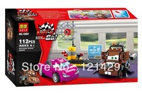Cartoon Cars Mater's Spy Zone Bela 10007 building blocks 3D DIY assembling educational toys birthday gift; Compatible with LEGO