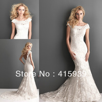 Free shipping!2013 NEW arrival ivory mermaid lace bodice short sleeves wedding guest dresses for brides HS137