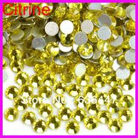 Free shipping min order $10 SS3-SS34 Citrine yellow non-hotfix FlatBack Rhinestones,DMC glue-on loose crystals DIY strass stones