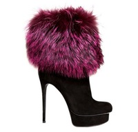 2013 New 16cm heels ankle fur boots women double platform shoes black size 34-41 winter boots