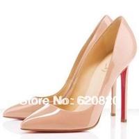 Wholesale 2014 classic  Women's shoes with heel black patent leather tines single shoes 6 colors Pumps shoe for women