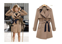 2013 New Coming  Autumn Trench coat Long type and Same Style with Hollywood Star