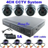 CCTV 4Ch H.264 Full D1 Standalone DVR & 4pcs Dome Cameras & 4pcs 20m cable  CCTV Systems Security Camera Video System DVR Kit