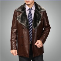 Free Shipping Haining Authentic New Men's Thick Winter Coat Slim Leather Leather Jacket Size: M - L - XL - 2XL - 3XL