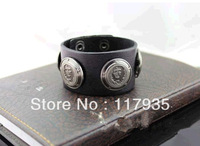 New 2013 hot sale EuropeStyle rasta  punk leather wristband bracelets for men bijouterie Head portrait  leather bracelet