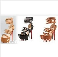 Hottest Platform spiked sandals Summer 2013 Botticellita studs red sole pumps high heels red bottom leather dress shoe 160mm