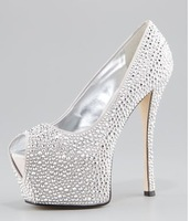 ladies high heels party shoes Crystal Exaggerated Platform Pump Crystal-encrusted calfskin Signature snipped peep-toe shoes
