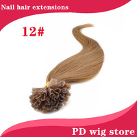 "New 18""20""22"" 100pcs 50g Straight Remy Real Nail Tip U Tip Human Hair Extension 12#light golden brown color"
