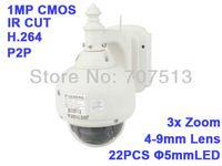 3x Zoom 720P HD H.264 1MP Wireless PTZ Pan/Tilt IR Cut Outdoor IP Camera Vandalproof ip camera