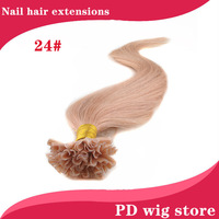 "New 18""20""22"" 100pcs 50g Straight Remy Real Nail Tip U Tip Human Hair Extension 24#golden blonde color"