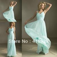 Free shipping!High quality v neck sleeveless blowing floor length long mint chiffon bridesmaid dresses brides maid dresses BN049