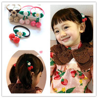 Little princess cherry &  strawberry flower line crochet hair rope girl hair accessory headband rubber band
