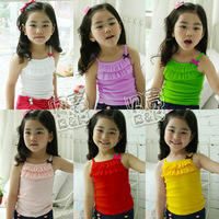2013 summer candy color girls clothing baby ruffle spaghetti strap vest tx-0964