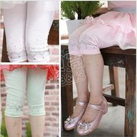 2013 summer rhinestones girls clothing baby 5 trousers knee-length pants legging kz-0916