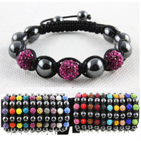 Hot Sale ! Fashion Women Shamballa Bracelets Bangles With AB Clay Disco Crystal Ball(3Pcs) Shamballa Bracelet Mix Colors Options