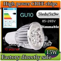 50% off Factory directly sale 10pcs/lot CREE led spotlight  led bulb GU10 15w 5x3W 110V 220V Dimmable led Light free shipping